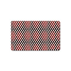 Squares Red Background Magnet (Name Card)