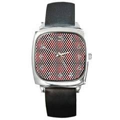 Squares Red Background Square Metal Watch