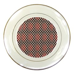 Squares Red Background Porcelain Plates