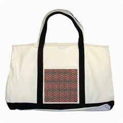 Squares Red Background Two Tone Tote Bag