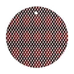 Squares Red Background Round Ornament (Two Sides)
