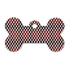 Squares Red Background Dog Tag Bone (One Side)