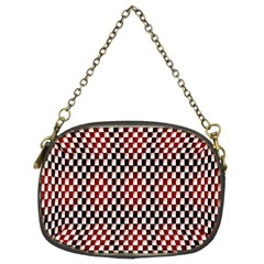 Squares Red Background Chain Purses (two Sides)