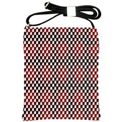 Squares Red Background Shoulder Sling Bags