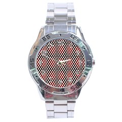 Squares Red Background Stainless Steel Analogue Watch