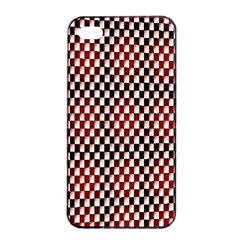 Squares Red Background Apple iPhone 4/4s Seamless Case (Black)