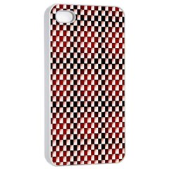 Squares Red Background Apple Iphone 4/4s Seamless Case (white)