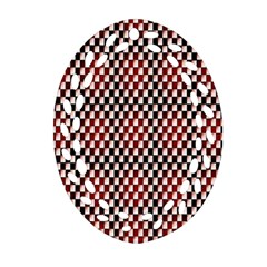 Squares Red Background Ornament (Oval Filigree)