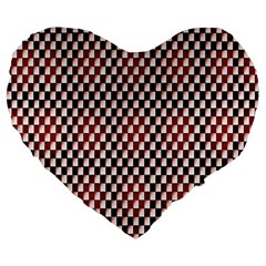Squares Red Background Large 19  Premium Heart Shape Cushions