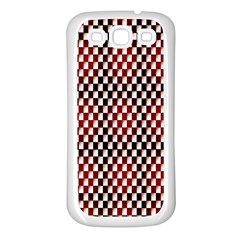 Squares Red Background Samsung Galaxy S3 Back Case (white)
