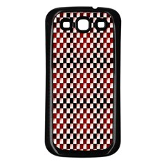 Squares Red Background Samsung Galaxy S3 Back Case (Black)