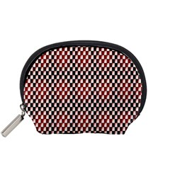 Squares Red Background Accessory Pouches (Small)