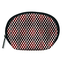 Squares Red Background Accessory Pouches (Medium)