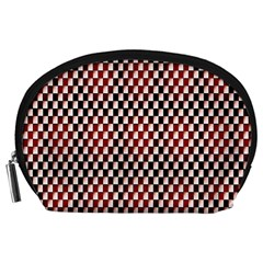 Squares Red Background Accessory Pouches (Large)
