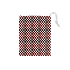 Squares Red Background Drawstring Pouches (Small)