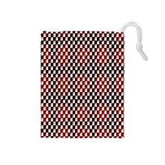 Squares Red Background Drawstring Pouches (Medium)