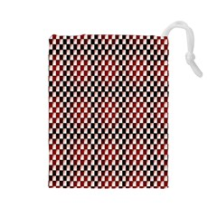 Squares Red Background Drawstring Pouches (Large)
