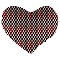 Squares Red Background Large 19  Premium Flano Heart Shape Cushions