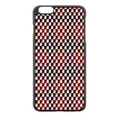 Squares Red Background Apple iPhone 6 Plus/6S Plus Black Enamel Case