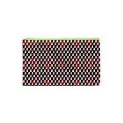 Squares Red Background Cosmetic Bag (xs)