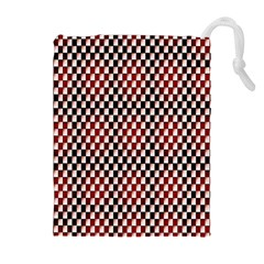 Squares Red Background Drawstring Pouches (Extra Large)