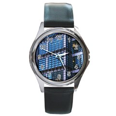 Modern Business Architecture Round Metal Watch