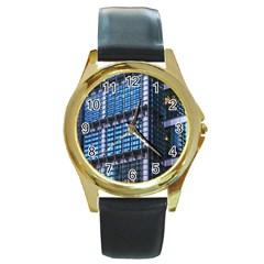 Modern Business Architecture Round Gold Metal Watch