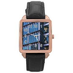 Modern Business Architecture Rose Gold Leather Watch