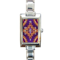 Something Different Fractal In Orange And Blue Rectangle Italian Charm Watch