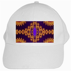 Something Different Fractal In Orange And Blue White Cap