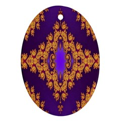 Something Different Fractal In Orange And Blue Ornament (oval)