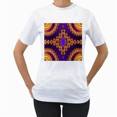 Something Different Fractal In Orange And Blue Women s T Shirt (white) (two Sided)