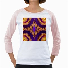 Something Different Fractal In Orange And Blue Girly Raglans