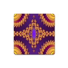 Something Different Fractal In Orange And Blue Square Magnet