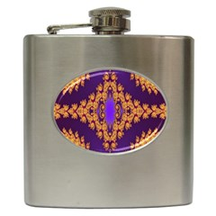 Something Different Fractal In Orange And Blue Hip Flask (6 Oz)