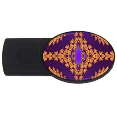 Something Different Fractal In Orange And Blue USB Flash Drive Oval (2 GB)