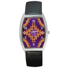Something Different Fractal In Orange And Blue Barrel Style Metal Watch