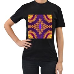 Something Different Fractal In Orange And Blue Women s T-Shirt (Black) (Two Sided)