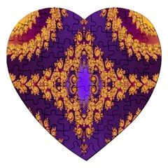 Something Different Fractal In Orange And Blue Jigsaw Puzzle (Heart)