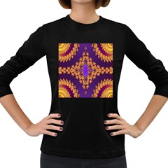 Something Different Fractal In Orange And Blue Women s Long Sleeve Dark T Shirts