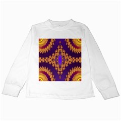 Something Different Fractal In Orange And Blue Kids Long Sleeve T-Shirts