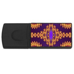 Something Different Fractal In Orange And Blue Usb Flash Drive Rectangular (4 Gb)
