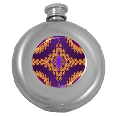 Something Different Fractal In Orange And Blue Round Hip Flask (5 Oz)