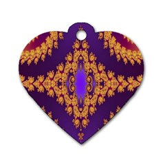 Something Different Fractal In Orange And Blue Dog Tag Heart (one Side)