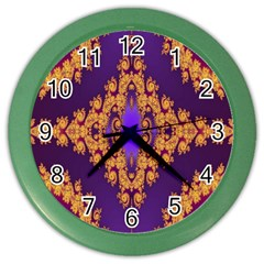 Something Different Fractal In Orange And Blue Color Wall Clocks