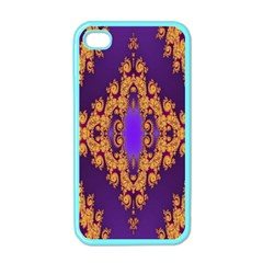 Something Different Fractal In Orange And Blue Apple iPhone 4 Case (Color)
