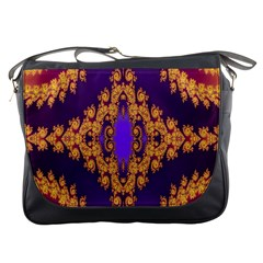 Something Different Fractal In Orange And Blue Messenger Bags
