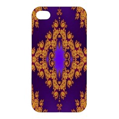Something Different Fractal In Orange And Blue Apple iPhone 4/4S Premium Hardshell Case