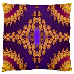 Something Different Fractal In Orange And Blue Large Cushion Case (Two Sides)