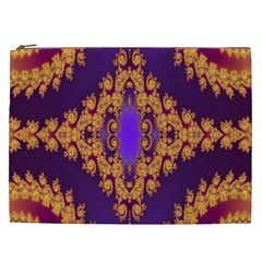 Something Different Fractal In Orange And Blue Cosmetic Bag (XXL)